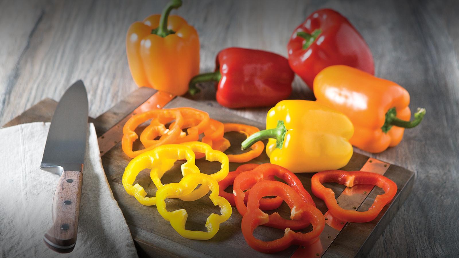 Orange, Red and Yellow Bell Peppers